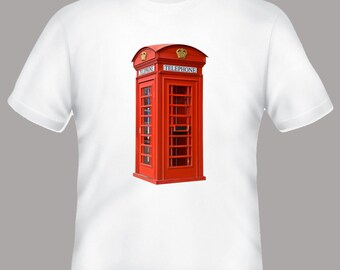 Classic British Red Phone Booth Box Adult Tshirt  -- sizes S-3XL, personalization available
