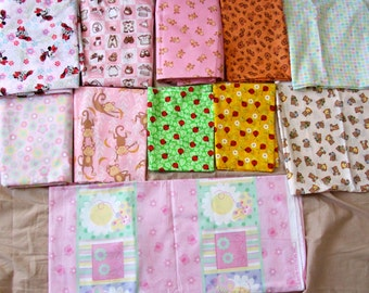 Baby Girl New Designer Soft Cotton fabric prints lady bugs, Minnie Mouse, bears, daisy, bibs, monkeys, ducks in pink, red, yellow, green.