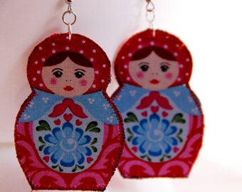 Red and Blue Matryoshka earrings - Russian nesting doll jewelry