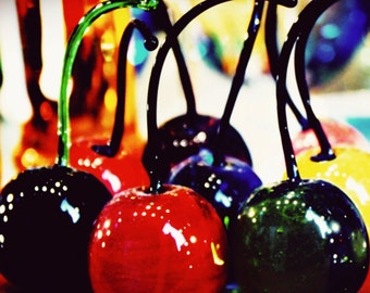 Cherries -Venice-8 x 8 Fine Art Photograph-Venetian- Mediterranean-Still Life-Bold Colors-Food Photography-Murano Glass-Tuscan Decor-Bar Art
