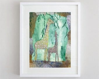 Green Giraffes Children's Whimsical Nursery Matted 5 X 7 Art Print