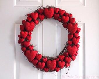 Red Heart Wreath Valentine Heart Wreath Valentine's Day Decor Glittery Red Hearts Grapevine Wreath 18 inch