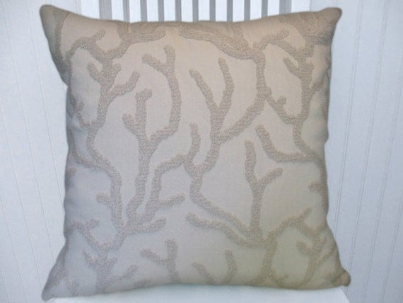 Off White Chenille Decorative Pillow By CodyandCooperDesigns