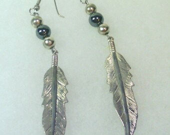 Vintage  Silver Feather  and Hematite Earrings  - 1980's