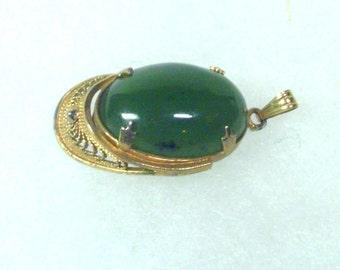 Jade Pendant in Gold Filigree - Gold Filled