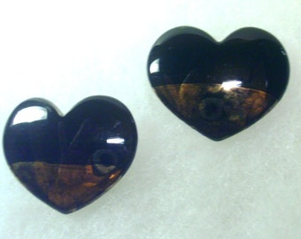 Vintage  Ceramic Post Earrings - Black and Gold Heart Shaped