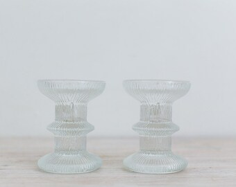 pair of vintage nordic french glass candlestick holders in original box