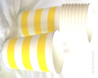 PaRTy CuPs YeLLoW STripe-with free DIY printable label file--Birthday parties---10ct