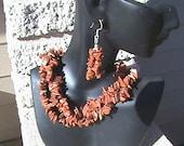 Hot Sale goldstone chip beaded Gemstone Necklace & Earing Sets