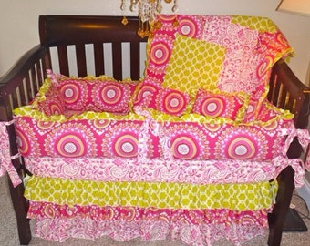 Boutique Cribset in Lime and Pink with Medallion Print, Kumari Garden Crib Bedding, Pink Paisley Crib Bedding, Pink Ruffle Crib Skirt