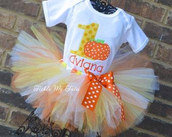 Little Candy Corn Pumpkin Birthday Tutu Outfit-Candy Corn Birthday Outfit-Pumpkin Themed Birthday Outfit-Pumpkin Patch Birthday Outfit
