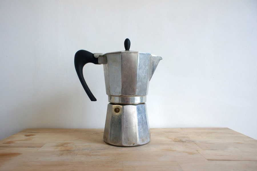 Italian Coffee Maker Percolator : Vintage Italian Percolator // 1970 Coffee Maker // Metallic