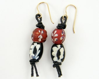 African Bead Earrings, Trade Bead Red White Blue Tribal Bead Earrings Ethnic Beaded Earrings on Leather  EC3-9