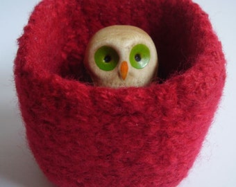 wee felted wool bowl ring holder square container Scarlet