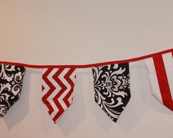 Bunting Banner- Red and Black Pennant Flags- Photo Props, Party Decoration - Ready to Ship