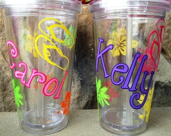 Personalized  Beach and Flip Flop Tumbler with Lid and Straw