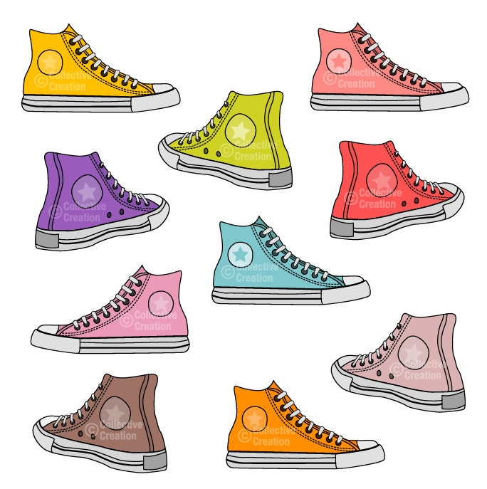 Sneakers Shoes Digital Clip Art Clipart Set by CollectiveCreation: etsy.com/listing/155434076/sneakers-shoes-digital-clip-art-clipart