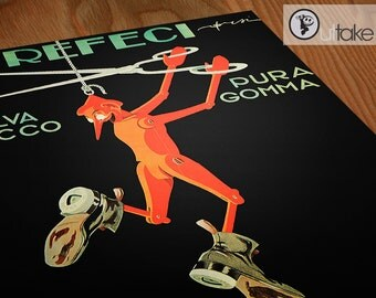Vintage Italian poster Dancing Puppet Art print interior design element, P070