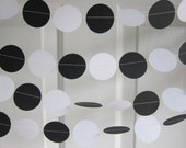 Black and White Paper Garland, Black Tie Decorations, Black Tie Wedding, Paper Garland, Zebra Party Decorations