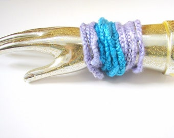Crochet Wrap Silk Bracelets in Turquoise and Lavender, Set of Three