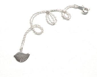 Silver Bird Charm Necklace - Adorable Cute Simple Minimalist Jewelry - Great for Layering