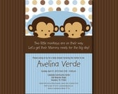 Blue Twin Monkey Baby Shower Invitation