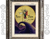 Nightmare Before Christmas 9 with Names & Date on Vintage Upcycled Dictionary Art Print Book Art Print Anniversary Wedding Jack Sally Custom