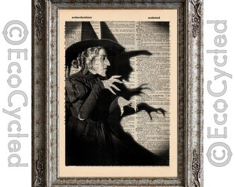 Wicked Witch of the West Wizard of Oz on Vintage Upcycled Dictionary Art Print Book Art Print Recycled Repurposed bookworm gift