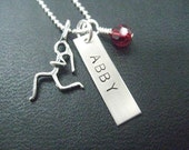 Sterling Silver Runner Girl PERSONALIZED Running Necklace with Crystal - Name, Date, Race or Word - 16, 18 or 20 inch - Custom Run Necklace