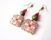 Floral tile Earrings with vintage drawings. Red & white  Herbal earrings. Arabesque.