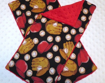 Sports Baseball Black on Red Minky Dot Burp Cloths- Set of 2