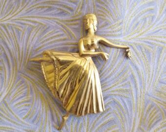Golden Ballerina Brooch