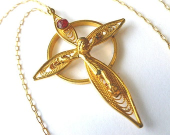 SALE Goldplate Crucifix Cross, Gold & Red Rhinestone Filigree Cross Pendant, Cross with Neck Chain