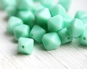 Mint bicones, Czech Glass beads, seafoam green bicone bead, pressed glass - 6mm - 30Pc - 2529