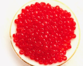 Seed beads, TOHO, size 11/0, Transparent Ruby, N 5C, rocailles, red glass beads - 10g - S064