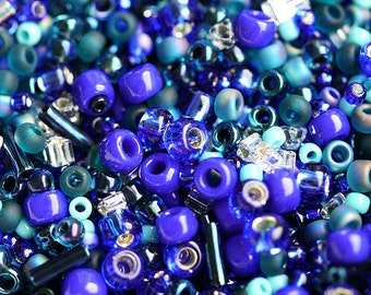 Dark Blue Beads Mix, TOHO Seeds - Navy Blue Turquoise - N 3224, rocailles, glass beads - 10g - S257