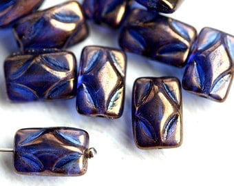Puffed Rectangle Czech glass Beads - Lustrous dark Blue, diamond pattern, rectangular beads - 12x8mm, 10Pc - 0014