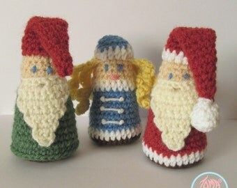 Amigurumi Gnome, Santa and Snegurochka - PDF pattern (Digital Download)