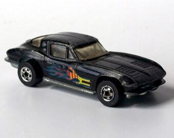 Black Corvette, 1963, metal car, Hot Wheels, Mattel 1979