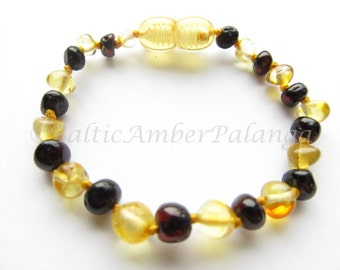 Baltic Amber Teething Bracelet/Anklet, Lemon and Cherry Color Beads
