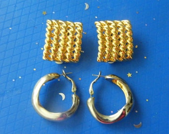 Vintage Earrings! '70's, Gold, Clip On Earrings, or '80's, Silver Hoop, Pierced Earrings! Birthday Gift, Anniversary Gift, Holiday Gift