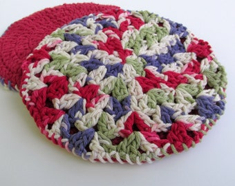 Crochet Circle Potholders, Hot Pads for Pots, Pot Holders Double Thick