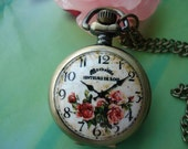 Small antique bronze painted Ceramics rose flowers and letters signs times patterns Round Pocket Watch Locket Necklaces with Chains