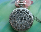 large Silver White Steel Hollow Hearts Flowers Spiderwebs Steampunk Round Pocket Watch Locket Pendants Necklaces
