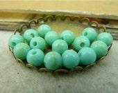 100 pcs 6mm Acrylic turquoise blue round smooth balls beads fc92414