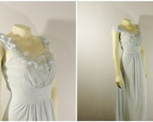 Vintage Nightgown 40s 50s Old Hollywood Glamour Lady Edso Nylon Tricot Baby Blue Empire Waist Deadstock Size 34 Modern Small