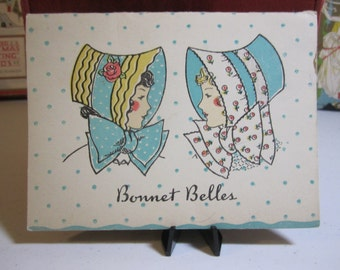 Adorable 1930's Norcross Bridge score pad Bonnet Belles profiles of pretty ladies in colorful bonnets