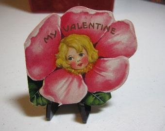 Adorable 1930's art deco die cut gold gilded embossed valentine card little girl inside rose petals