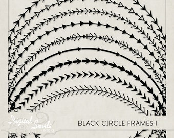 Black Circle Frames 1 - Digital Clipart for card making, scrapbooking, invitations, printed products, commercial use