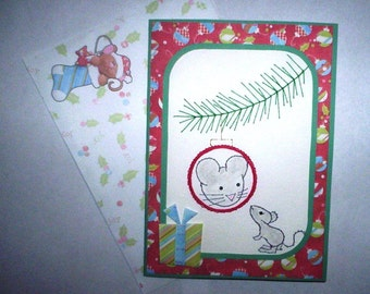 Stitched mouse and ornament Christmas card with matching envelope.